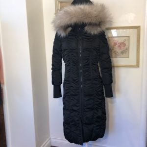 T Tahari Black Elizabeth Ruched Puffer Coat Sz.M